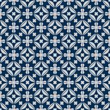 Diamond shape flower inside symmetry japan blue seamless pattern Royalty Free Stock Photography
