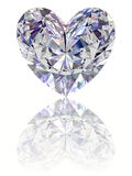 Diamond in shape of heart on glossy white backgrou Stock Image