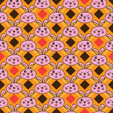 Diamond shape line rabbit head seamless pattern Royalty Free Stock Images