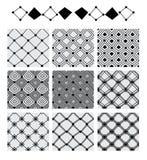 Diamond shape line symmetry set seamless pattern Stock Images