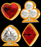 Diamond shaped Card Suits. Side view of Diamond shaped Card Suits with golden framing over black background. Other gems are in my portfolio Royalty Free Stock Image