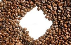 Diamond shaped coffee beans frame. Simple blank white diamond shaped  coffee beans background Stock Photos