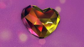 Diamond Shaped Heart colorido hermoso en un fondo rosado