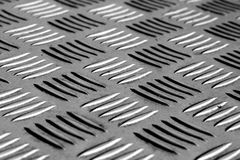 Diamond shaped metal floor pattern with blur effect in black and Stock Images