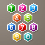 Diamond shaped numbers set Royalty Free Stock Photo