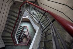 Diamond Shaped Stair. The diamond shaped stair stair is located in Liangyou Apartment which is a historical old building listed among Shanghai`s Excellent Royalty Free Stock Photography