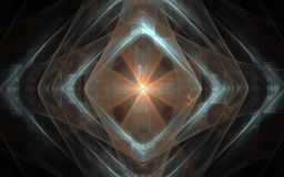 Diamond-shaped symbol with a luminous center. Abstract image of a symbol from transparent geometric shapes superimposed on each other with a luminous center with Stock Images