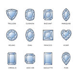 Diamond Shapes. Line illustration of 12 diamond shapes