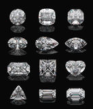 Diamond shapes on black. Diamond shapes on black mirror. 3d illustration Royalty Free Stock Images