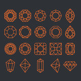 Diamond Shapes Set. Vector geometric icons of gemstone and crystal cut Royalty Free Stock Photos