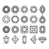 Diamond Shapes Set. Vector geometric icons of gemstone and crystal cut  on white background Stock Image