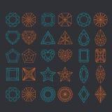 Diamond Shapes Set. Vector geometric icons of gemstone cut Royalty Free Stock Photography