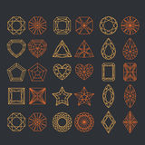 Diamond Shapes Set. Vector geometric icons of gemstone cut Royalty Free Stock Photos