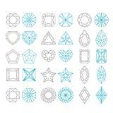 Diamond Shapes Set. Vector geometric icons of gemstone cut isolated on white background Royalty Free Stock Images