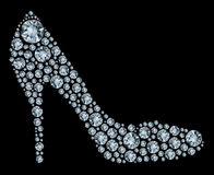 Diamond shoes on black background Stock Image