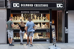 Diamond shop in Antwerp, Belgium. ANTWERP, BELGIUM - AUG 23: Diamond shop in the diamond quarter in the city of Antwerp. August 23, 2015 in Antwerp, Belgium Royalty Free Stock Image