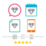Diamond sign icon. Jewelry symbol. Gem stone. Stock Photography