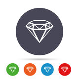 Diamond sign icon. Jewelry symbol. Gem stone. Round colourful buttons with flat icons. Vector royalty free illustration