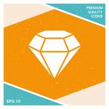 Diamond sign. Jewelry symbol. Gem stone. Flat simple design. Element for your design Royalty Free Stock Image