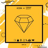 Diamond sign. Jewelry symbol. Gem stone. Flat simple design - line icon Royalty Free Stock Photos