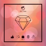 Diamond sign. Jewelry symbol. Gem stone. Flat simple design - line icon Royalty Free Stock Images