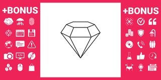 Diamond sign. Jewelry symbol. Gem stone. Flat simple design - line icon Royalty Free Stock Image