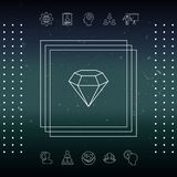 Diamond sign. Jewelry symbol. Gem stone. Flat simple design - line icon Royalty Free Stock Photography