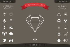 Diamond sign. Jewelry symbol. Gem stone. Flat simple design - line icon Royalty Free Stock Photo