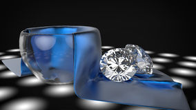 Diamond on silk Royalty Free Stock Photos