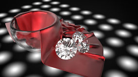 Diamond on silk Stock Photography