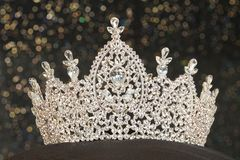 Diamond Silver Crown for Miss Pageant Beauty Contest, Crystal Tia. Ra decorate with many shape of gems stone and bokeh background, HDR stacking Macro photography stock images
