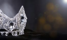 Diamon Silver Crown for Miss Pageant Beauty Contest, Crystal Tia. Diamond Silver Crown for Miss Pageant Beauty Contest, Crystal Tiara jewelry decorated gems royalty free stock photography