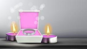 Diamond Silver Ring In Square Box Banner Vector stock illustration