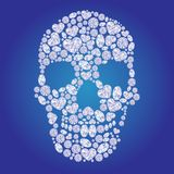 Diamond skull on blue background Stock Photos