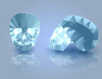 Diamond skulls. Two diamond skulls with reflection on blue background Royalty Free Stock Images