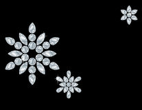 Diamond Snowflake Card. Snowflake patterns made from diamond shapes. Isolated on Black Royalty Free Stock Photo