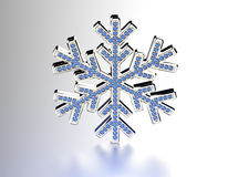 Diamond snowflake. Christmas background. 3D Diamond snowflake. Christmas background Royalty Free Stock Photo