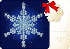Diamond snowflake / Christmas background with tag Stock Image