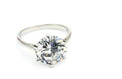 Diamond solitaire ring isolated on white background stock photo