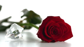 Diamond spinning beside red rose stock footage