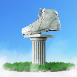Diamond sports shoes, low poly sneakers with hard edges and shiny faces. On marble pillar pedestal. Isolated Royalty Free Stock Image