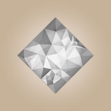 Diamond square shape. Grayscale color abstract polygonal vector illustration isolated on beige background Stock Photos