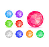 Diamond Stone Icon Set Royalty Free Stock Images