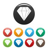 Diamond stone icons set color. Diamond stone icons set 9 color vector isolated on white for any design stock illustration