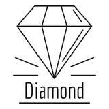 Diamond stone logo, outline style. Diamond stone logo. Outline illustration of diamond stone vector logo for web design isolated on white background royalty free illustration