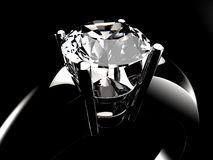 Diamond stone silver ring closeup. Diamond stone ring closeup, rendered in 3d, with black background Stock Image