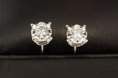 Diamond stud earrings Stock Photography