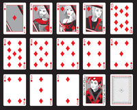 Diamond suit. A set of playing cards from the diamonds suit Stock Images