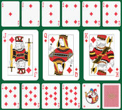 Diamond suit. Playing cards diamond suit, joker and back. Faces double sized. Green background in a separate level in vector file Stock Image