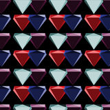 Diamond symbol seamless abstract vector colorful shaded repeating pattern on black background Stock Photography